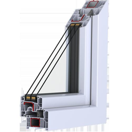 profili PVC con 7 camere nel telaio e 7 camere nell'anta